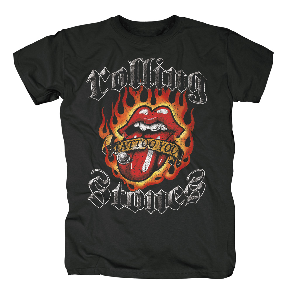 Official Rolling Stones Flaming Tattoo Tongue T-Shirt Brussels Affair No Securit