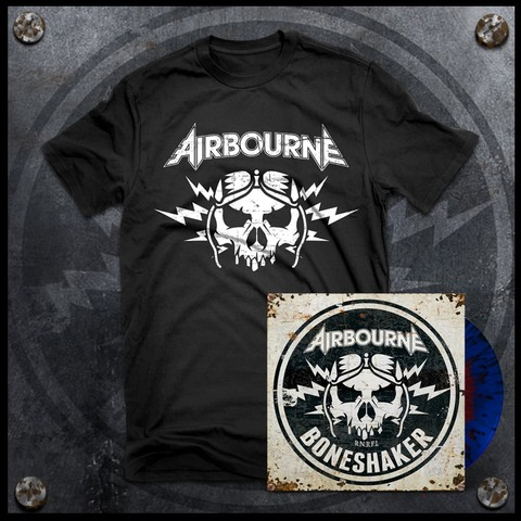 √Boneshaker (Ltd. Bundle: Red & Blue Splatter LP + T-Shirt) von Airbourne - LP Bundle jetzt im Bravado Shop