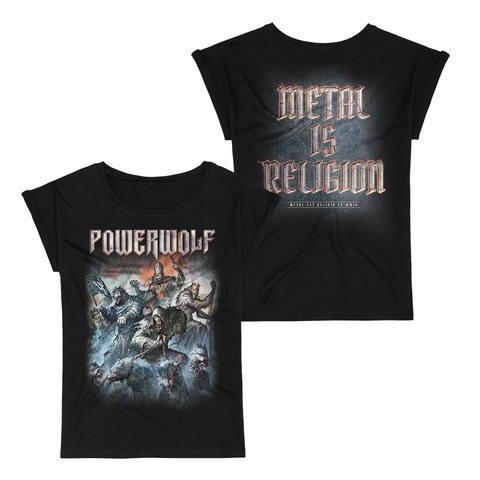 √Best Of The Blessed Art von Powerwolf - Girlie Shirt mit Rollup Ärmeln jetzt im Bravado Shop