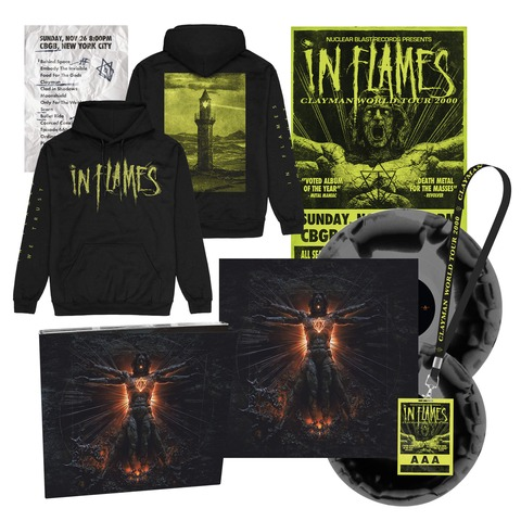 √Clayman 20th Anniversary Bundle - 2LP, CD, Poster, Setlist, AAA Pass, Hoodie von In Flames -  jetzt im Bravado Shop