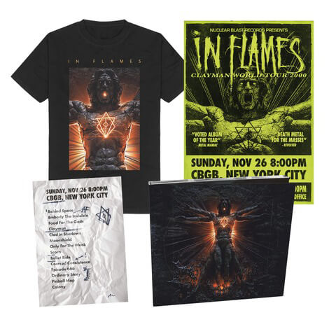 √Clayman 20th Anniversary Bundle - CD, Poster, Setlist, T-Shirt von In Flames - Digi CD Bundle jetzt im Bravado Shop