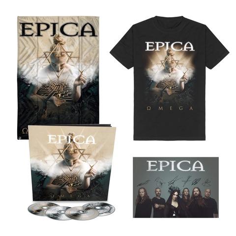 Omega Bundle - 4CD Earbook, T-Shirt, Signed Card, Flag von Epica - 4CD Earbook Bundle jetzt im Bravado Shop