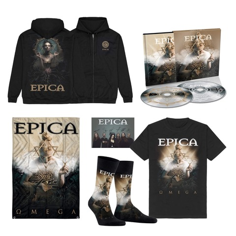 √Omega Bundle - 2CD Digibook, T-Shirt, Signed Card, Flag, Socks, Zipper Hoodie von Epica - 2CD Digibook Bundle jetzt im Bravado Shop
