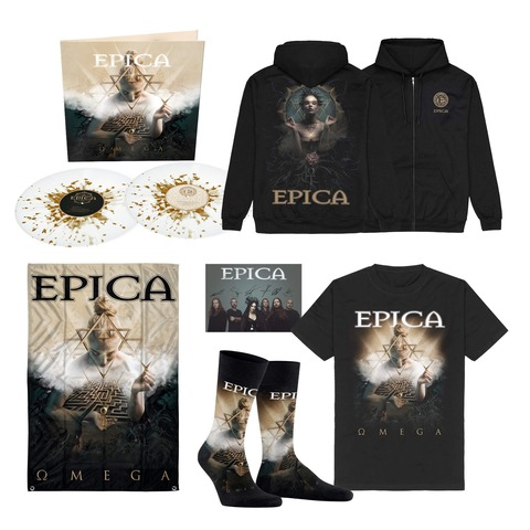 √Omega Bundle - White / Gold Splatter 2LP, T-Shirt, Signed Card, Flag, Socks, Zipper Hoodie von Epica -  jetzt im Bravado Shop