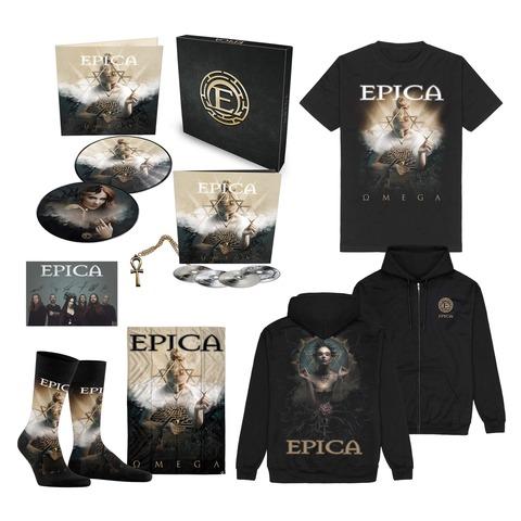 √Omega Bundle - Boxset, T-Shirt, Signed Card, Flag, Socks, Zipper Hoodie von Epica -  jetzt im Bravado Shop