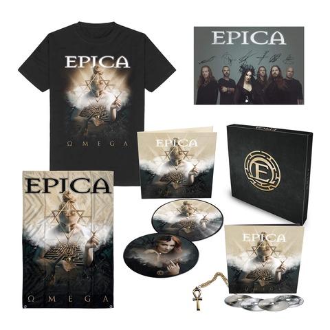 √Omega Bundle - Boxset, T-Shirt, Signed Card, Flag von Epica - Boxset Bundle jetzt im Bravado Shop