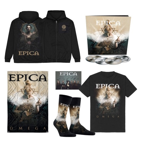 √Omega Bundle - 4CD Earbook, T-Shirt, Signed Card, Flag, Socks, Zipper Hoodie von Epica -  jetzt im Bravado Shop