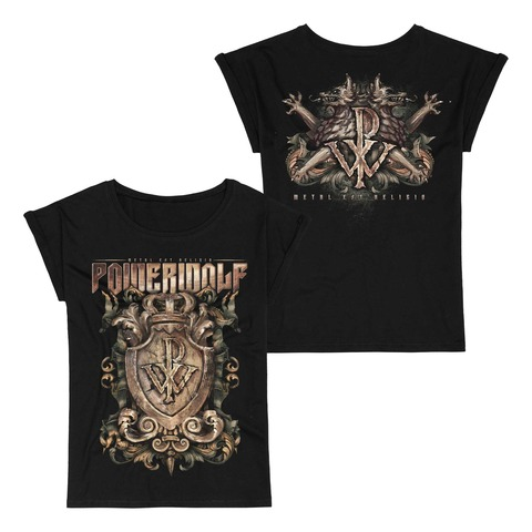 Metal Est Religio Crest von Powerwolf - Girlie Shirt mit Roll Up jetzt im Bravado Shop