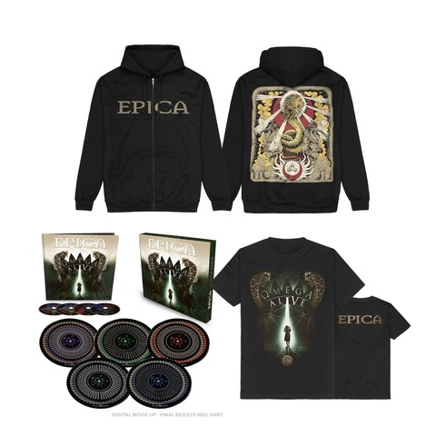 Omega Alive Bundle (Ltd 10inch Boxset + Shirt + Zipper) von Epica - LP Bundle jetzt im Bravado Store